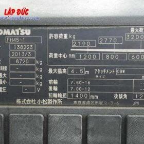 Xe nâng KOMATSU máy dầu 4.5 tấn FH45-1 # 138223 giá rẻ