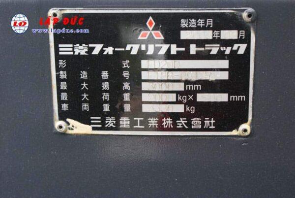 Xe nâng động cơ dầu 2 tấn MITSUBISHI FD20 #F18B -09137 giá rẻ