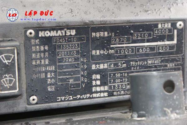 Xe nâng 4.5 tấn dầu KOMATSU FD45T-10 # 135323 giá rẻ