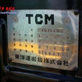 Xe nâng 1.5 tấn dầu TCM FD15Z16S # 11502113 giá rẻ