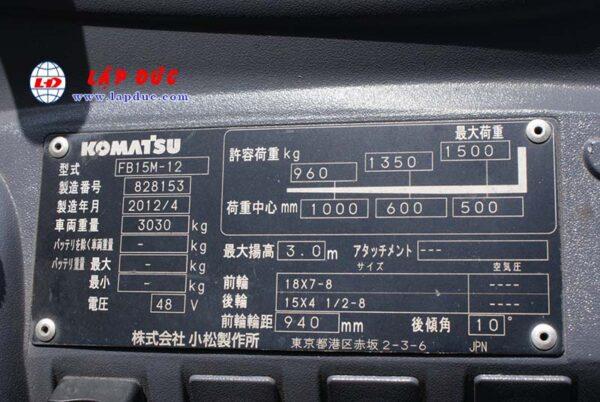 Xe nâng điện KOMATSU 1.5 tấn ngồi lái FB15M-12 giá rẻ