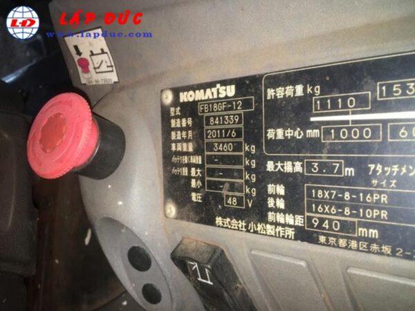 Xe nâng điện KOMATSU 1.8 tấn ngồi lái FB18GF-12