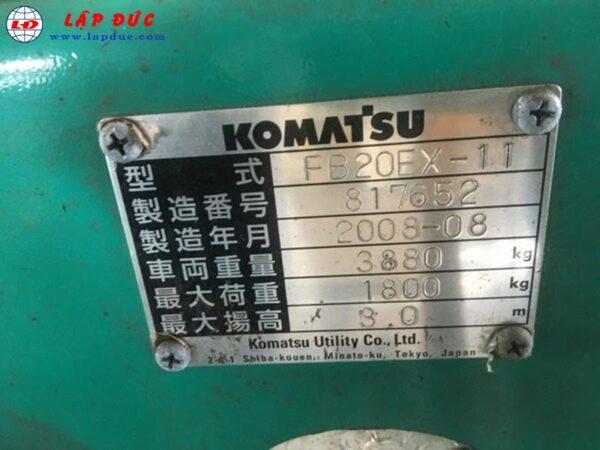Xe nâng điện ngồi lái cũ 2 tấn KOMATSU FB20EX-11