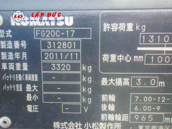 Xe nâng 2 tấn máy xăng KOMATSU FG20C-17 # 312801 giá rẻ