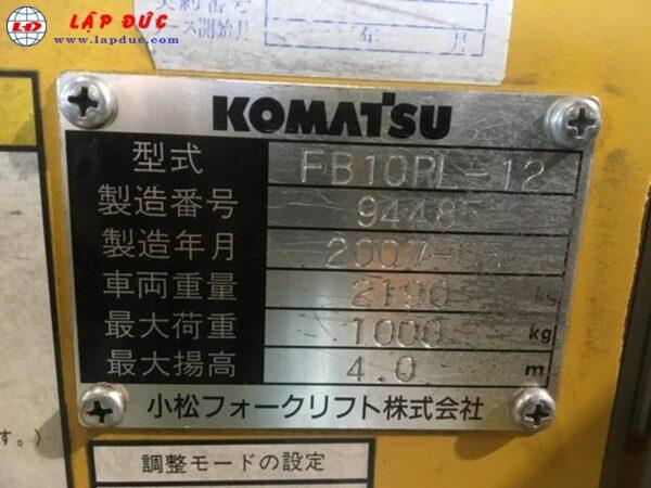 Xe nâng điện KOMATSU đứng lái 1 tấn FB10RL-12