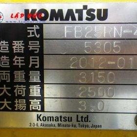 Xe nâng điện KOMATSU 2.5 tấn đứng lái FB25RN-4 giá rẻ